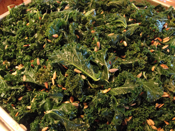 massaged kale salad with toasted sunflower seeds via Farmpunk.ca