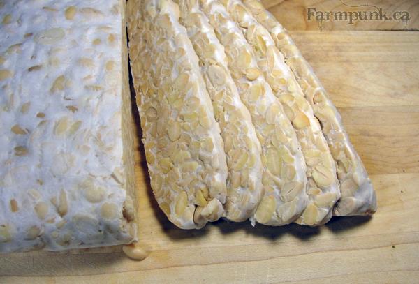 Farmpunk.ca: sliced homemade tempeh